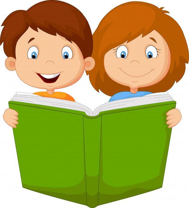 Libro De Lectura De Nino Y Nina De Dibujos Animados Vector Premium Ninos En La Escuela Imagenes De Ninos Estudiando Ninos Escolares