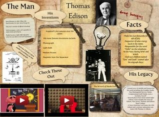 Thomas Alva Edison was an American inventor and businessman. He developed many devices that greatly influenced life around the world, including the phonograph, the motion picture camera, and a long-lasting, practical electric light bulb. #glogster #edison