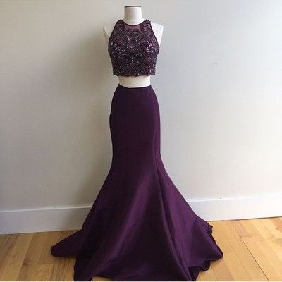 Purple long mermaid beaded prom dresses,two pieces evening dresses