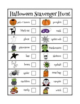 Halloween Scavenger Hunt (Color and B/W)