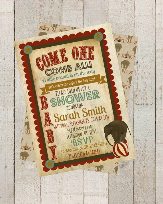 Vintage Circus Baby Shower Invite, Invitation with Elephant, Vintage Circus Invite, Circus Baby Shower, Digital File by themilkandcreamco on Etsy, $10.00