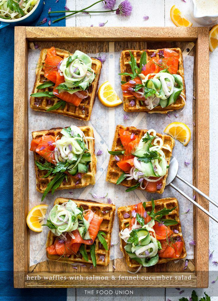 Salmon & Fennel Salad Waffles