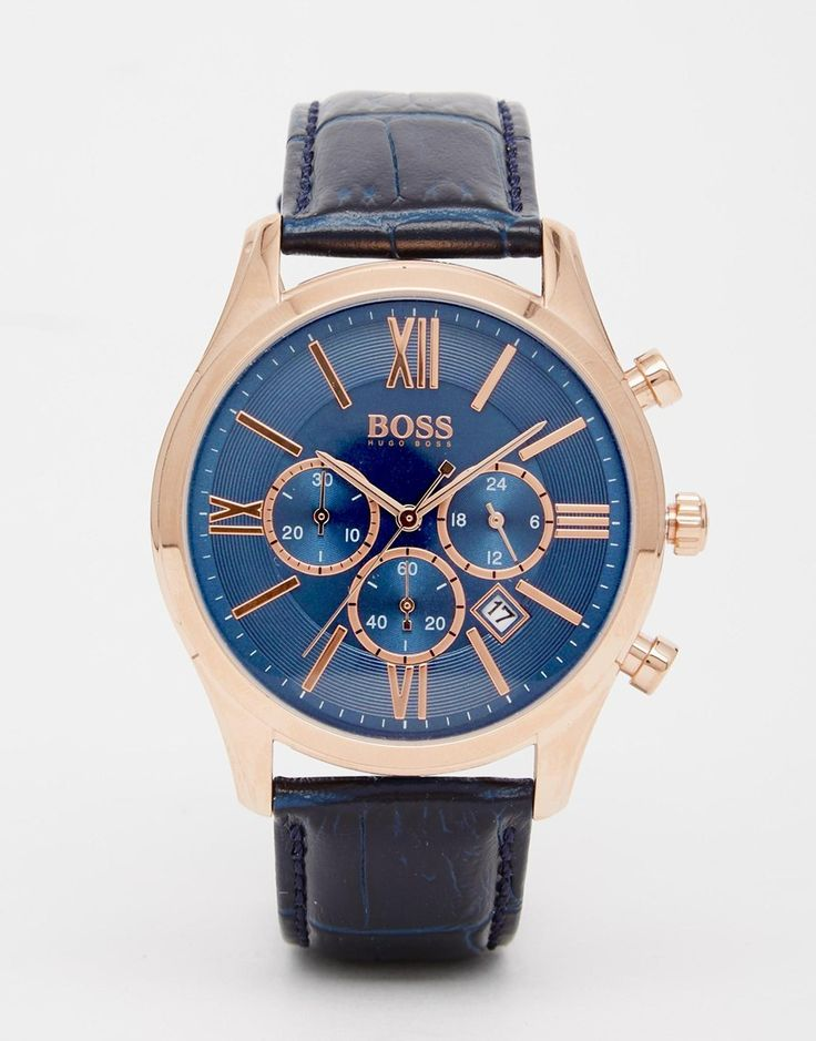 Image 1 ofHugo Boss Blue Leather Strap Watch 1513320