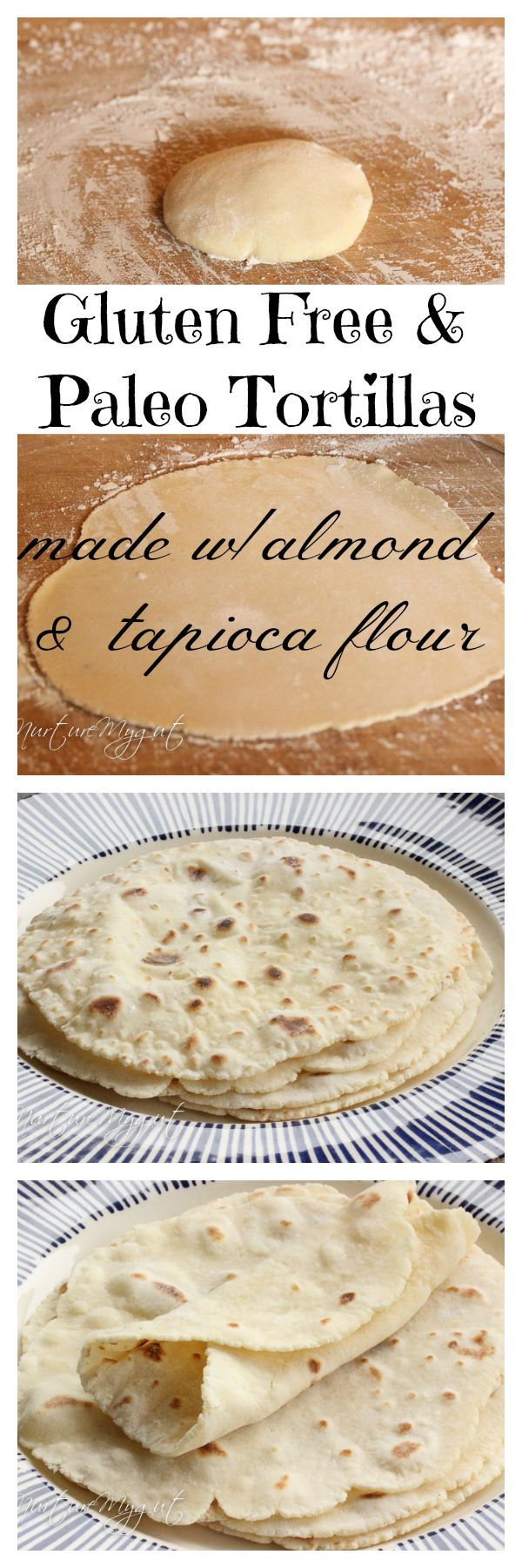 Best Gluten Free & Paleo Tortillas! Made with blanched almond and tapioca flour. No eggs or dairy. Can be made in 20 minutes or less. Dough stores well in the fridge for several days.