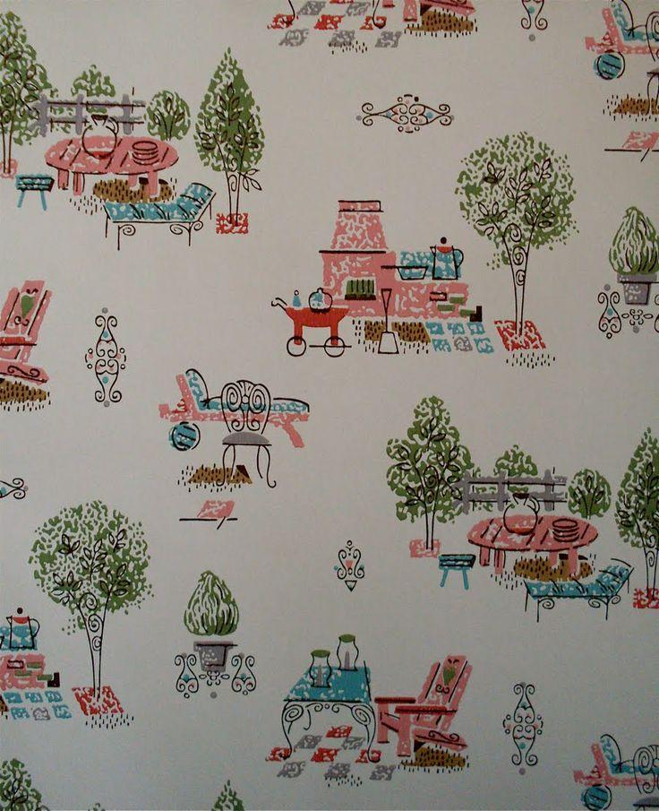 131 best vintage wallpaper images on pinterest for Kitchen wallpaper patterns