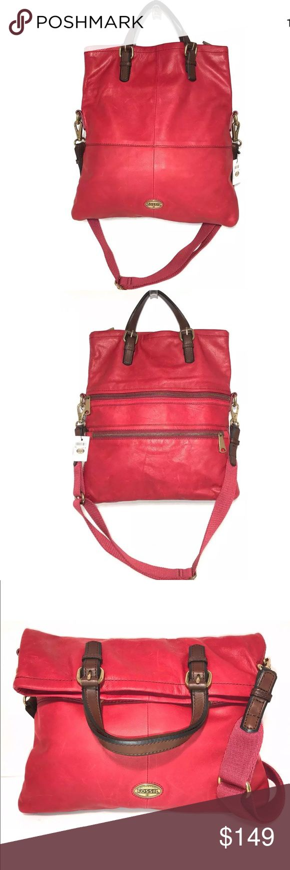 """🆕 Fossil Leather Fold Over Large Crossbody Bag Red Leather Explorer Fold Over Detachable Strap.                                                                  📌Description Color: Red Material: Genuine leather Closure: Zipper Pockets: Two large zip- pocket  front Handles /Strap: Double strap and one detachable strap  📌Interior Pockets: One zip-pocket and two open pockets Lining: Brown 📌Measurements Height: 15"""" Length: 13"""" Depth: 2"""" Strap Drop: 4"""" 22"""" with the bag folded Fossil Bags…"""