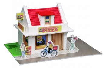 Construcion kit with real bricks of a pizzeria. The building blocks can be reused because the cement is dissolved in water. Contains: construction bricks, cement , wood building components, spatula, bowl, plate and a foam board with figures.