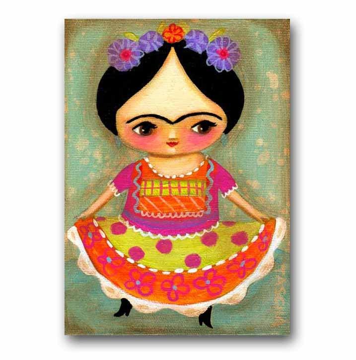 FRIDA Kahlo dances ORIGINAL acrylic painting on canvas cute folk art by TASCHA. $80.00, via Etsy.