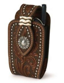 Nocona tooled leather PDA case