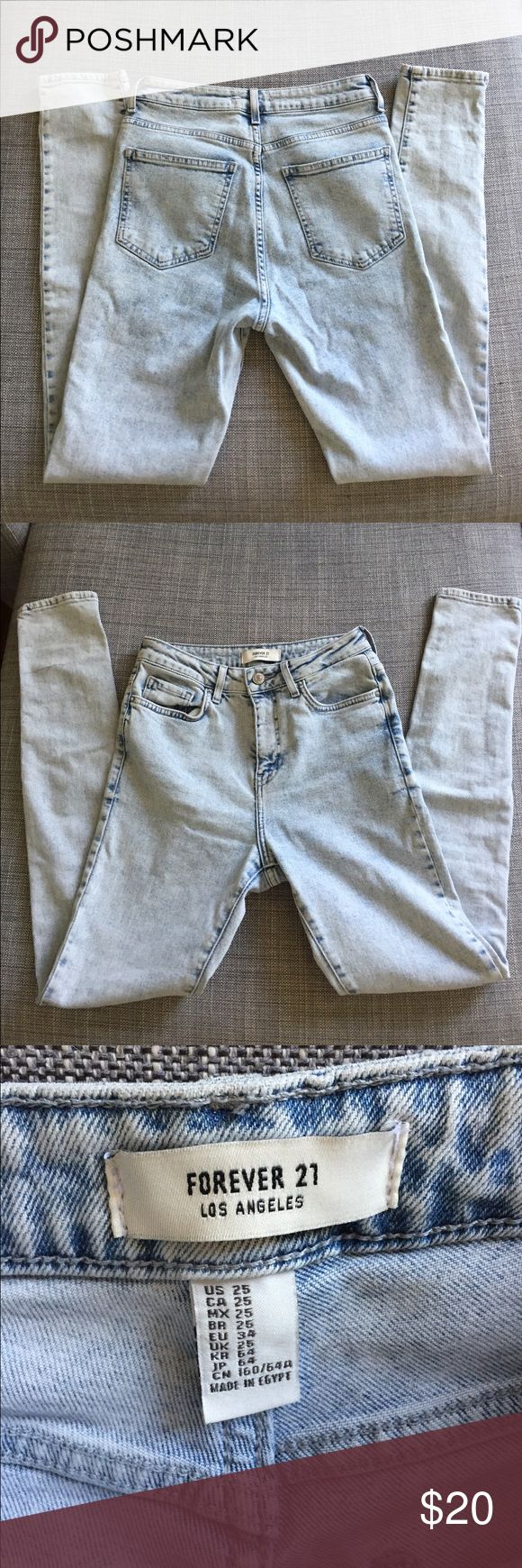 Forever 21 High Waisted Jeans High wasted light wash skinny jeans. Size 25 Forever 21 Jeans Skinny
