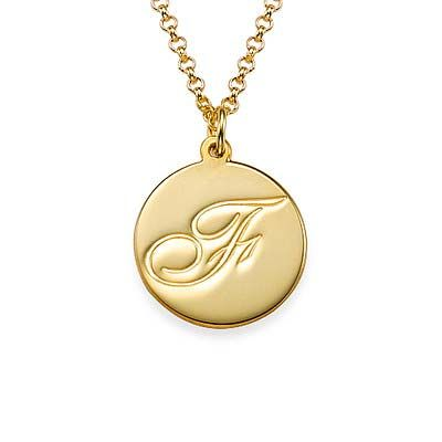 Script Initial Pendant Necklace in 18k Gold Plating | MyNameNecklace