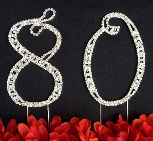 """80th Birthday Cake Topper - Large 4 1/2"""" Tall 80th Wedding Anniversary Cake Topper - Acrylic Rhinestone Number Cake Topper >>> Awesome deals : baking desserts recipes"""
