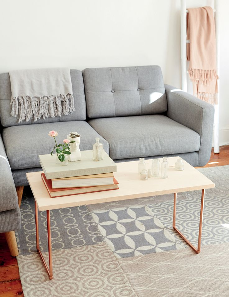 Coffee table with copper legs. See more Copper inspirations at http://www.brabbu.com/en/inspiration-and-ideas/ #CopperLighting #CopperDesign #CopperDecoration