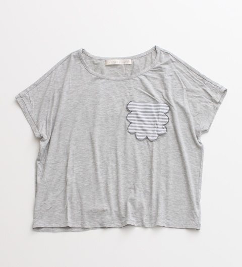 dot & stripes スカラップポケット半袖Tシャツ: Grey Matter, Adorable Apparel, Stripes, Dots, Products