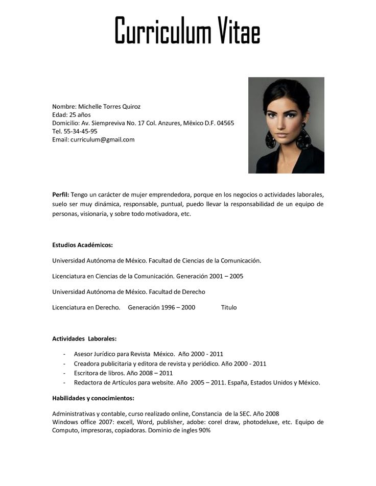 MUESTRAS DE CURRICULUM VITAE | Hot images pictures