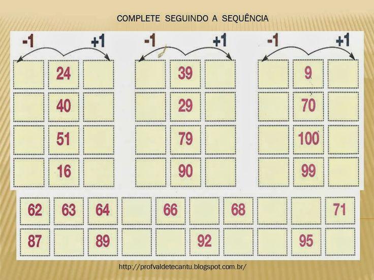 Resultado de imagem para atividades de sequencia numerica 3 ano