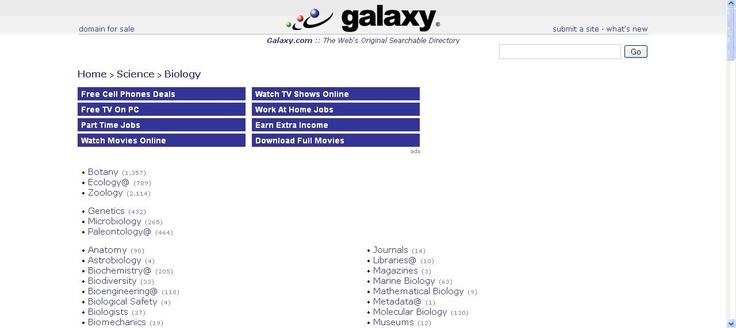 Galaxy es un directorio de recursos sobre distintas materias.
