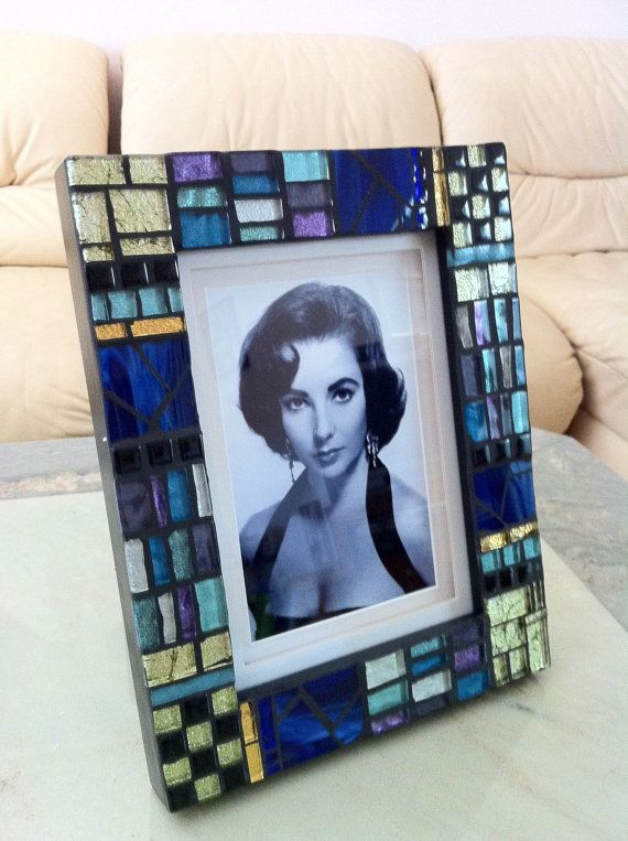 5x7 Photo Frame Handcrafted Mosaic Art Border $150.00. Sold. Available as Custom Order.