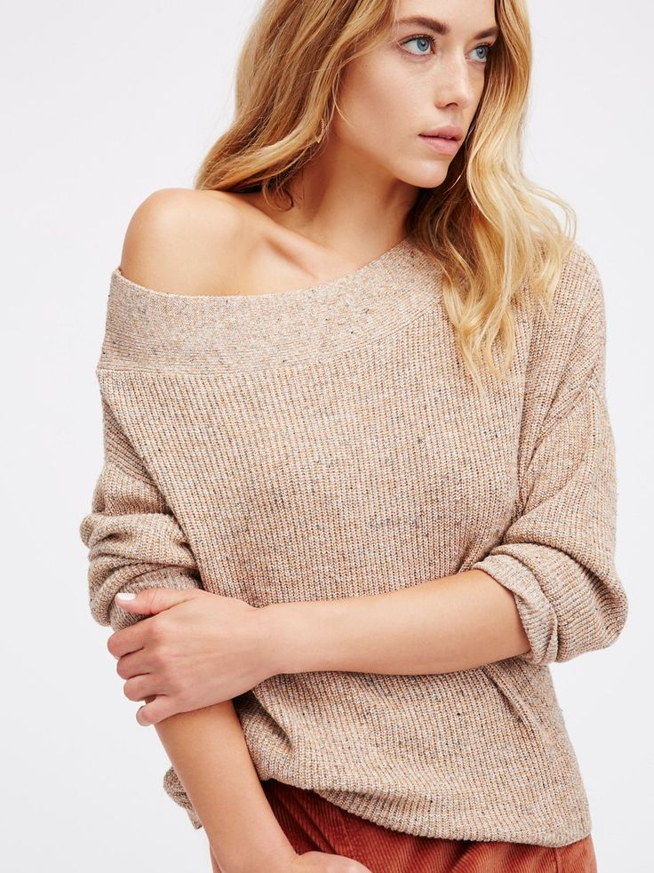 Alana Pullover | Super slouchy marled pullover featured in a comfy ribbed fabric. Asymmetrical neckline and a high low hem.