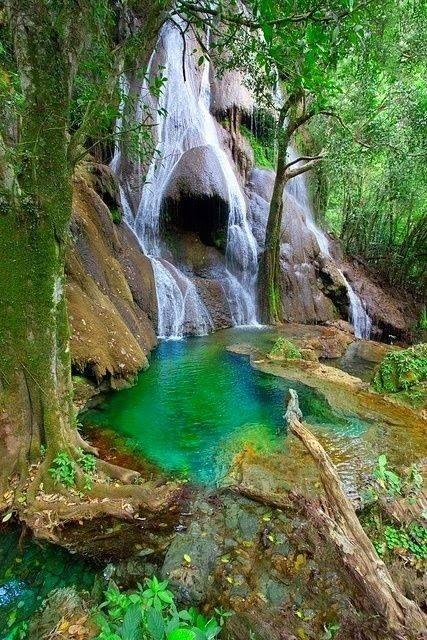 Waterfall in Bonito, Mato Grosso do Sul, Brazil.