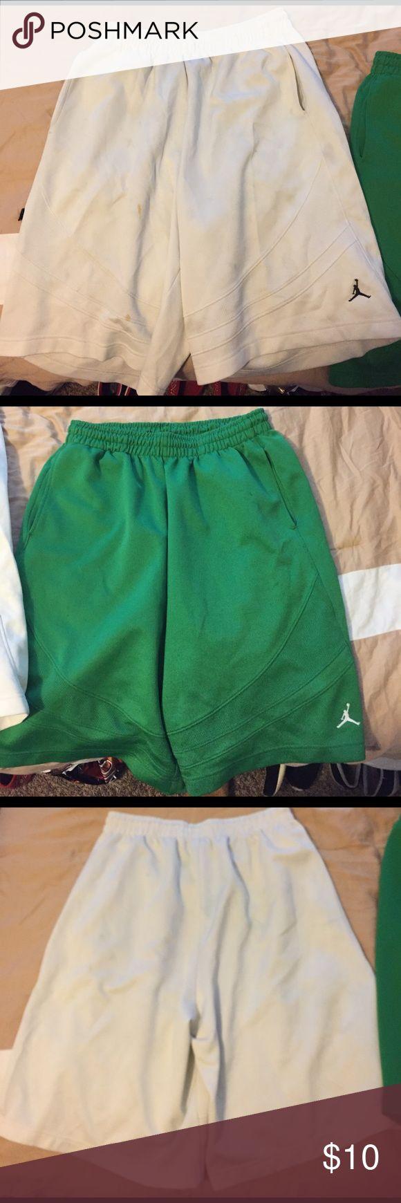 Green Jordan basketball shorts/White Jordan shorts A pair of green Jordan basketball shorts and a pair of white Jordan basketball shorts TOGETHER Jordan Shorts Athletic