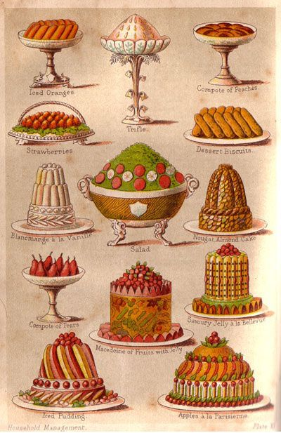 Good old Mrs Beeton's...look at those puddings! And serving dishes!