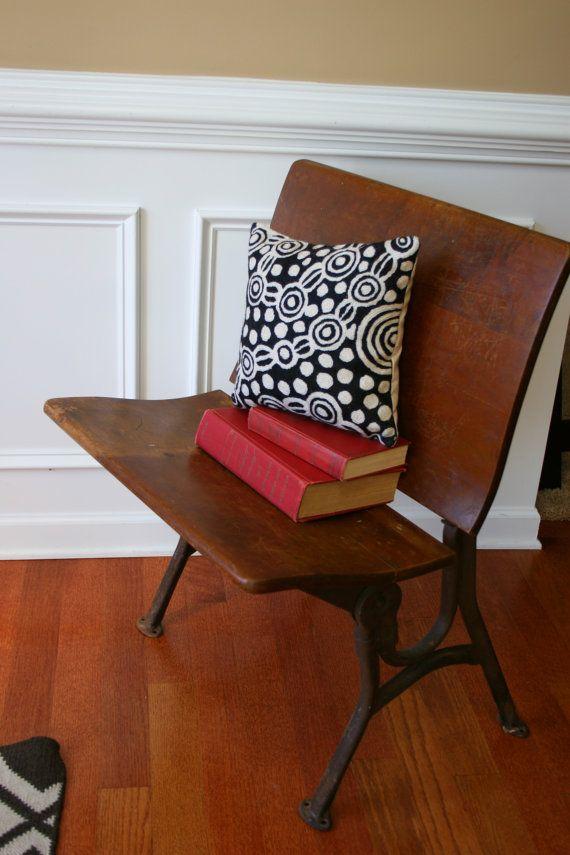 vintage school desk chair schoolhouse wood bench industrial home seating primitive old rustic metal iron home school furniture