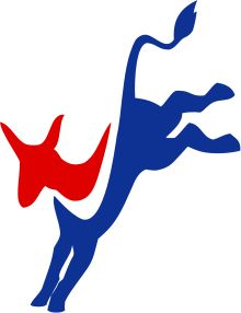 "Democratic Party (United States) - The Democratic donkey party logo in a modernized ""kicking donkey"" form"