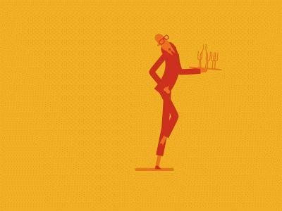 Drunk waiter is just a great #GIF #design #illustration by Fraser Davidson