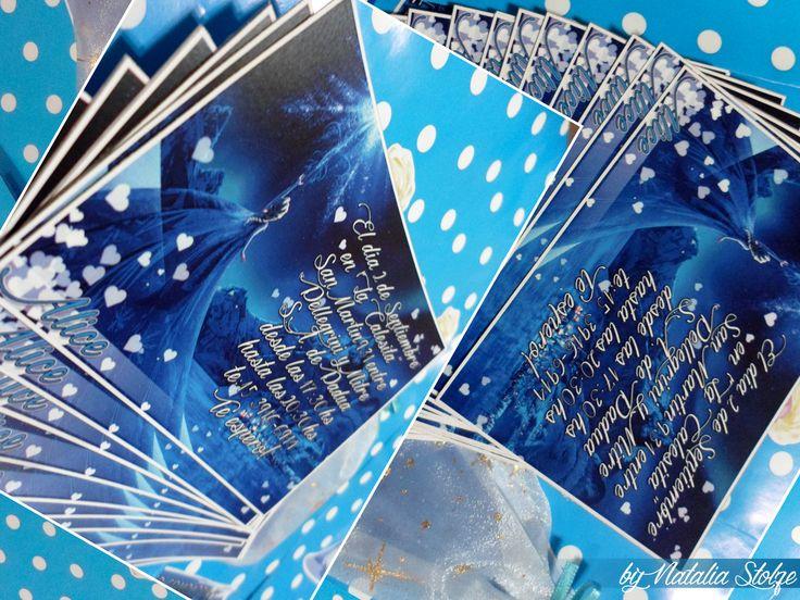 Invitaciones. Medidas: 10x7cm. Preparándolas para imprimir en una hoja A4, salen 8 tarjetas; y en una A3, salen el doble.