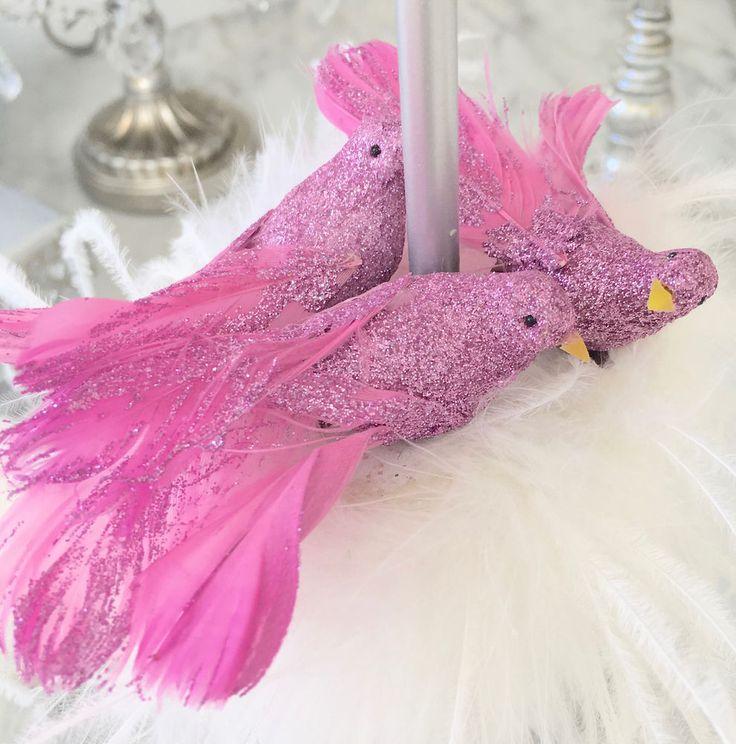Set Shabby Chic 3 Soft Pink Minature Glitter Birds Christmas Decoration Ornament