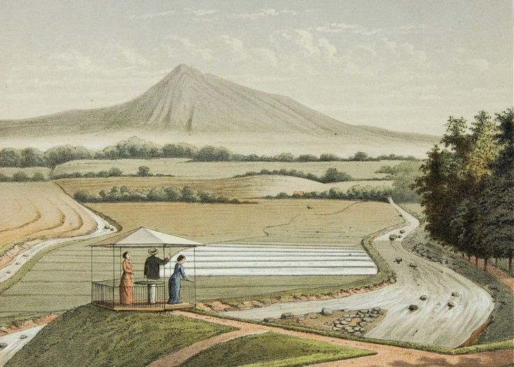 Josias Cornelis Rappard - Pemadangan Gunung Pangrango dari Kebun Raya Bogor
