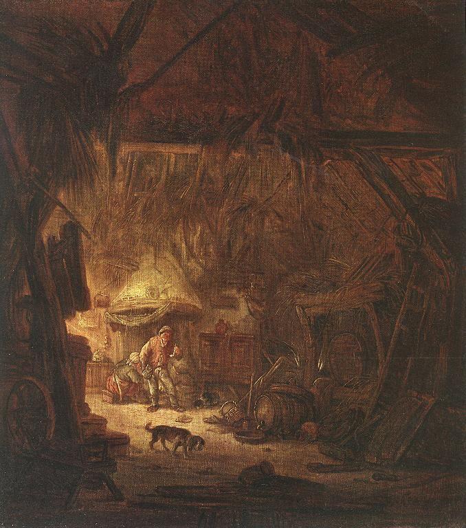 Isaac van Ostade - Interieur van een boerderij