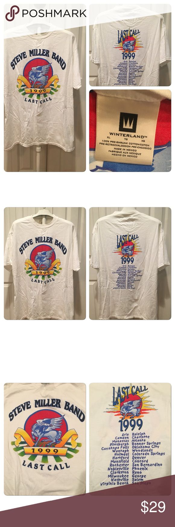 1999 Steve Miller band tour T-shirt 1999 Steve Miller band tour T-shirt.  Printed on 100% cotton Winterland brand white T-shirt. Double-sided graphics. No holes no stains no rips no tears. No yellowing of white T-shirt no fading of graphics Vintage Shirts Tees - Short Sleeve