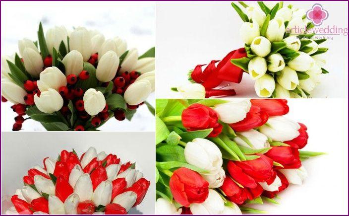 Bianche bouquet da sposa rosso - come scegliere una combinazione di colori con le foto