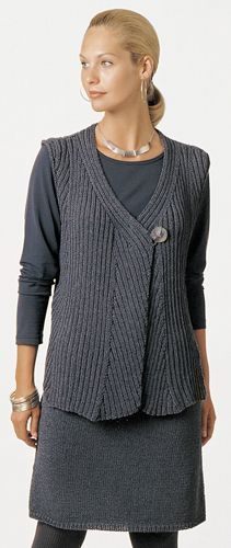 Cool vest idea for slip stitch rib textures.  (Berroco® Free Pattern | Sheila) knit and crochet!