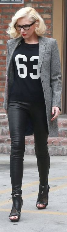 Gwen Stefani's black leather pants, glasses, and mesh boots street style id