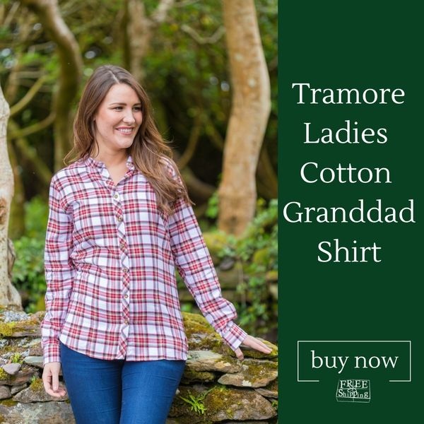 Enjoy the Summer Sun in our Tramore Cotton Ladies Granddad Shirt #tramore #buyirish #leevalleyireland #granddadshirt #ladiesshirt