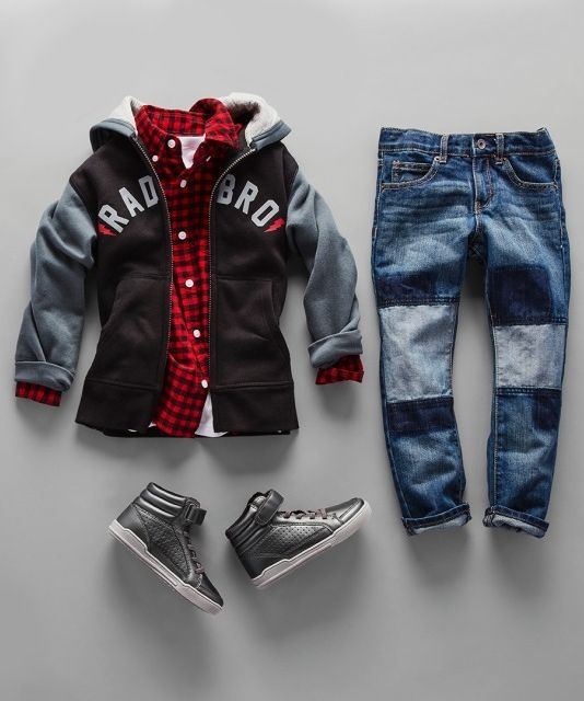 Boys' fashion | Kids' clothes | Hoodie | Patch jeans A| Check shirt | Hi-top sneakers | The Children's Place