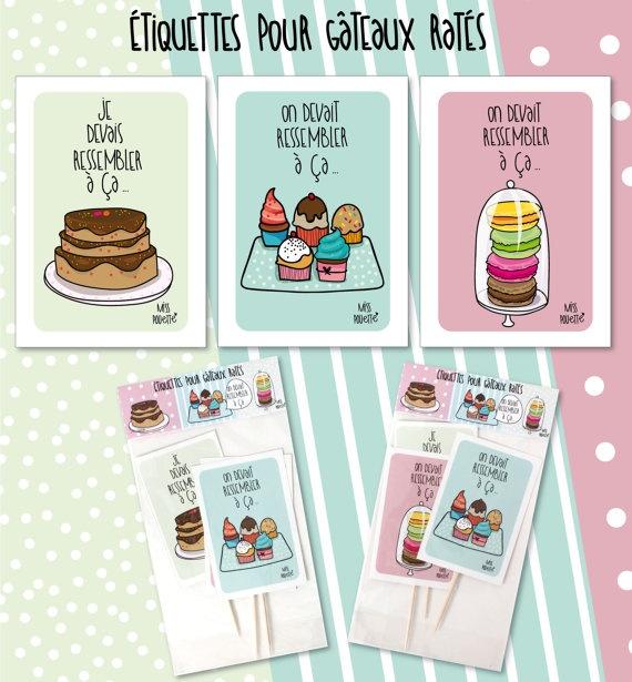 3 étiquettes pour gâteaux ratés par MissPouette sur Etsy, €2,00