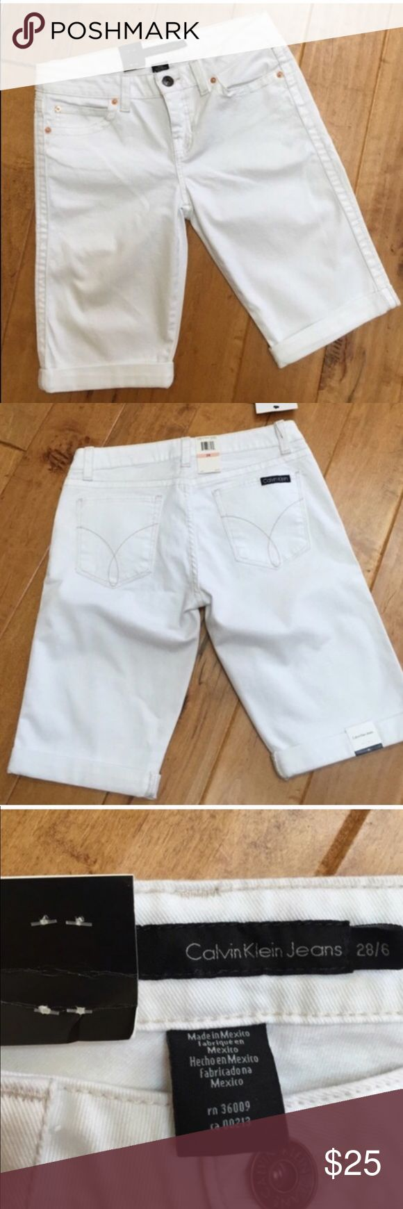 NWT Calvin Klein msrp $49.50 sz 28/6 fits like a 4 White Bermuda shorts NWT Calvin Klein Jeans msrp $49.50 size 28/6 but fits more like a 4 so I have not been able to wear these lovelies ! Springtime staple. Grab em!      NO LONGER FOR SALE. I gave item away to a friend 💕 Calvin Klein Shorts Bermudas