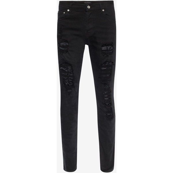 Alexander McQueen Black Distressed Jeans ($635) ❤ liked on Polyvore featuring men's fashion, men's clothing, men's jeans, black, mens ripped jeans, mens distressed jeans, mens torn jeans and mens destroyed jeans