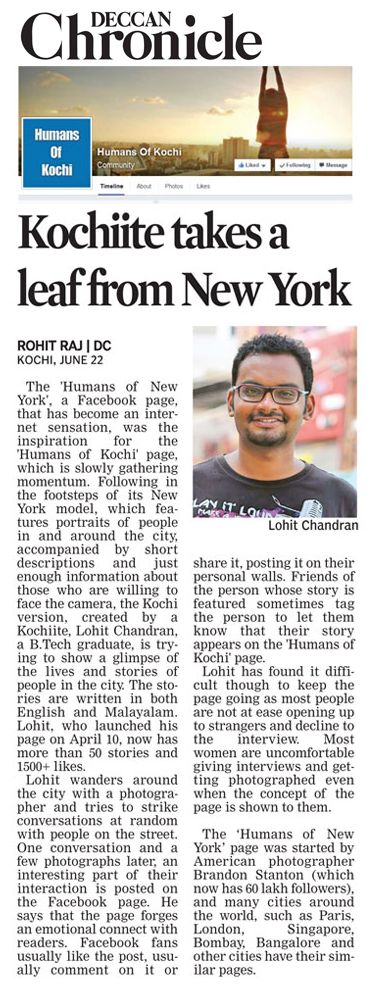 Deccan Chronicle Features 'Humans Of Kochi'
