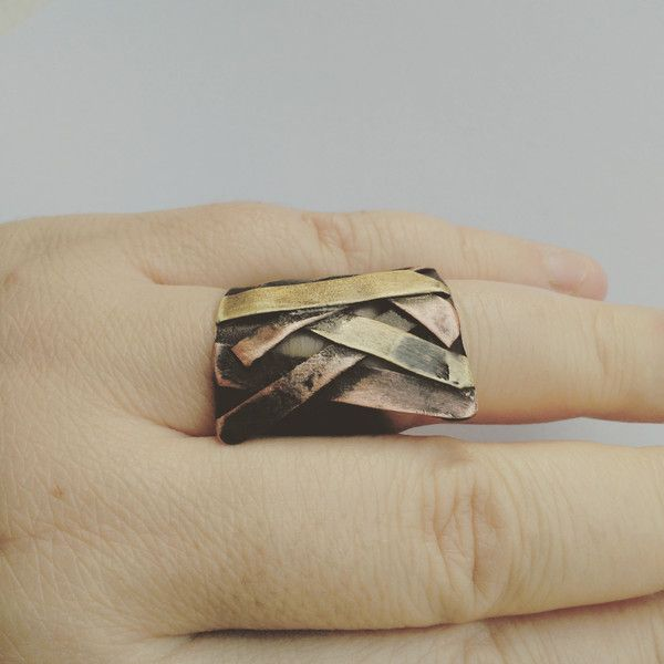 Rings – Pieces. Copper sculptural  ring. mixed metal ring. – a unique product by NAAKIT on DaWanda