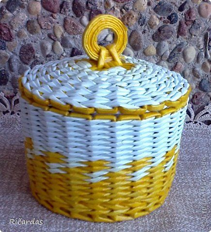 Поделка изделие Плетение Шкатулки  Бумага газетная Трубочки бумажные фото 19