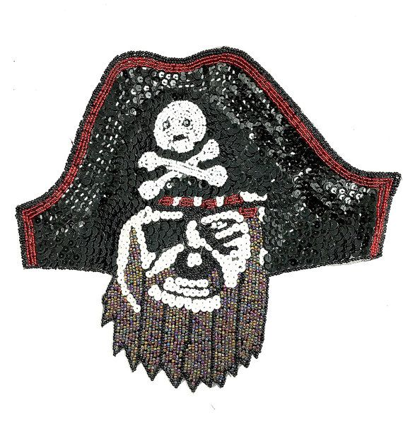 Pirate Applique Sequin Beaded 10 x 9 by BestSequinAppliques