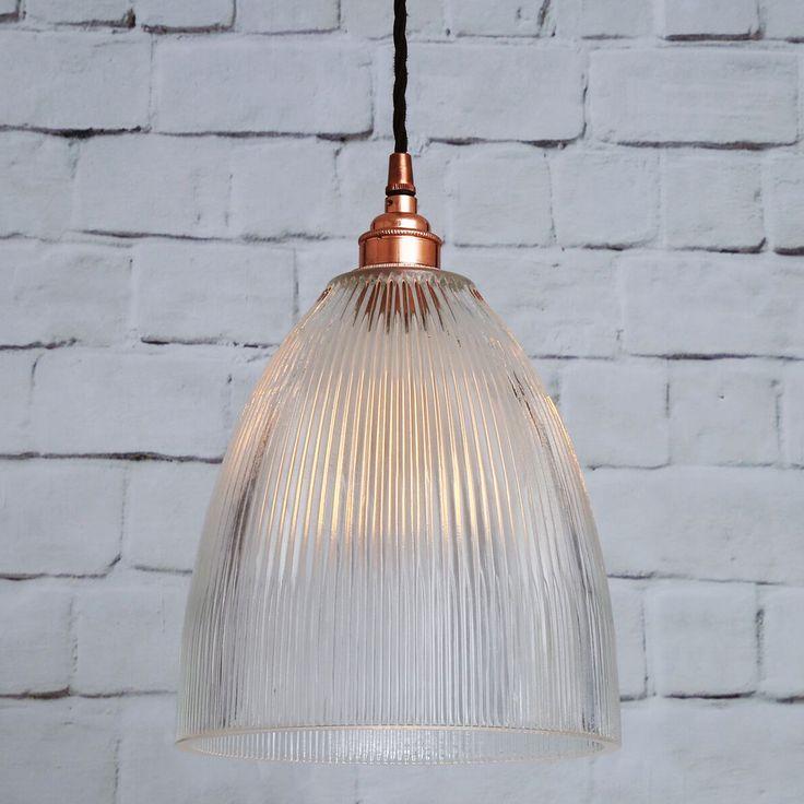 Pendelleuchte mit becherförmigem Holophan-Glas von  Aire Lighting, Bild 15: Kupfer poliert