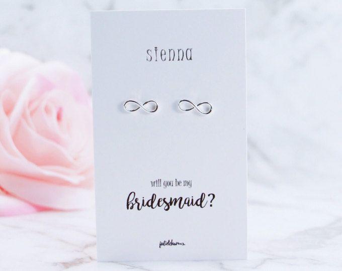 Silver, Infinity Stud Earrings, Bridesmaid Gift, Be My Bridesmaid, Bridal Party Gift, Bridesmaid Proposal, Maid of Honour, Flower Girl
