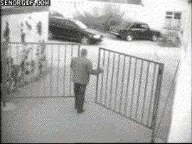 10 bucks you can't hit both gates... |- Parking Fails Driving Fail Drive Fail Crash Fail Car Fail gif gifs -|