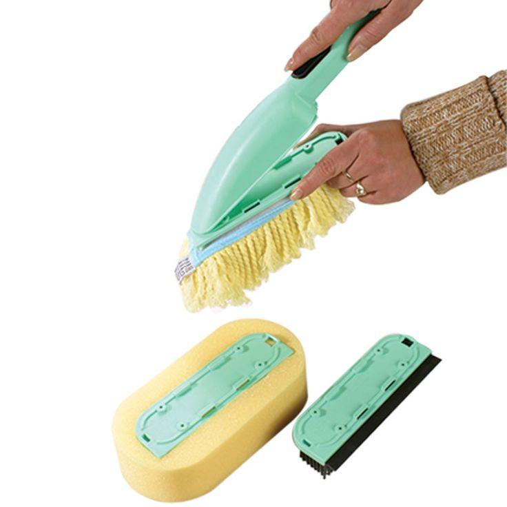 4-delige schoonmaakborstel  Description: Complete set voor het schoonmaken van allerhande karweitjes. De set bestaat uit een super absorberende spons (21 x 11 cm) een mop (20 x 7 cm) een rubberen borstel met wisser (16 x 5 cm) en een solide anti-slip handvat. De set is vervaardigd van hoogwaardig kunststofen uitgevoerd in de kleuren mintgroen en geel. Een ideale set voor het wassen van de ramen uw auto of caravan het dweilen van gladde vloeren het schoonmaken van de badkamer enz.  Price…